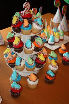 Rio cupcakes made with Peeps - West's 2nd birthday