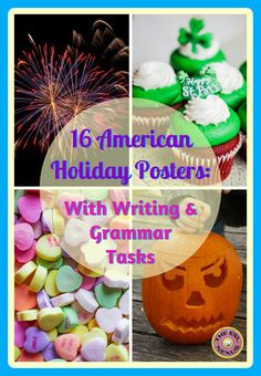 Use these 16 posters about American holidays to decorate your classroom, provide information about the origins & traditions of each holiday, and to do writing & grammar activities that extend students' learning. Written in acrostic poem format, they also make great models when teaching a poetry unit.  The posters are easily assembled and are appropriate for English Language Learners as well as native-English speaking students.