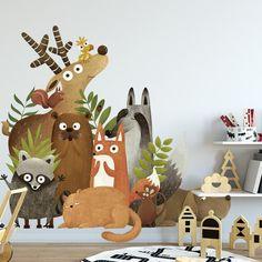Big forest cartoon animal wall sticker. Waterproof stickers for bedroom children's room kindergarten. Room decoration mural - 90x60cm