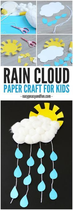 Cute idea for spring time! A rain cloud paper craft for kids! Easy and fun!