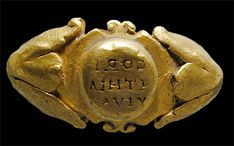 """The reverse lettering on this gold signet ring from the third century CE says CORINTHIA VIVAT, """"may Corinthia live"""" or """"long live Corinthia."""""""