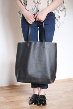 Supple Black Leather Tote Bag with Brown leather straps , Carryall ...