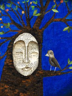 'Truth In Silence' by Tara Pappas on TurningArt - Love this artist who brings in pages from books and whimsy and an intimate flare on faces in nature!