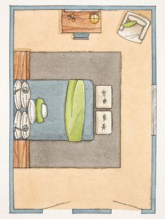 Problem: Long and narrow, one window wall Solution: Face the bed to the window to make the most of the view. Include a desk/dressing table, chair, and mirror opposite the doorway. Place a pair of benches at the end of the bed for seating. Flank the bed with nightstands or nestle the bed into a built-in storage unit that includes two cabinet towers and a cabinet that bridges the head of the bed to create an alcove.