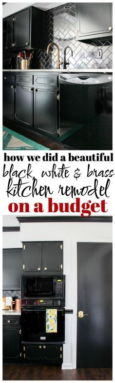 Black, White and Brass Kitchen Remodel | High End Kitchen on a Budget | Black and White Kitchen Ideas | Black and White Kitchen Design