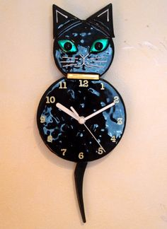Black fused glass cat clock with pendulum tail