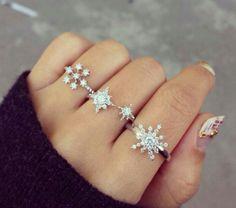 winter snowflakes jewels silver rings rings