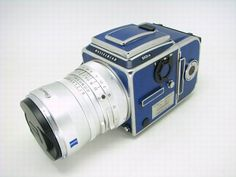 Beautiful Blue Hasselblad. I used to own a red one, wish I still did!