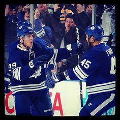 Matt Frattin celebrates his buzzer beater against the Sabres Buzzer, Toronto Maple Leafs, Ice Hockey, Athletes, Nhl, Passion, Baseball Cards, My Love, Celebrities