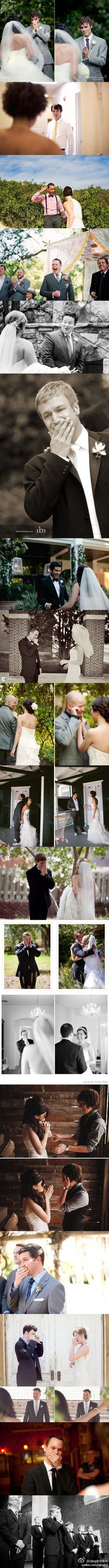 Pictures of the grooms reactions. I like the back to back.