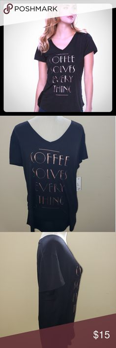 💛COFFEE SOLVES EVERYTHING GRAPHIC TEE SIZE XL💛 SUPER CUTE AND SOFT GRAPHIC V-NECK TEE. TEE IS A LITTLE LONGER IN THE BACK.  (SIZE SHOWN ON THE MANNEQUIN IS SIZE XL.) OTHER SIZES IN MY CLOSET BUNDLE TO SAVE!! Apt. 9 Tops Tees - Short Sleeve