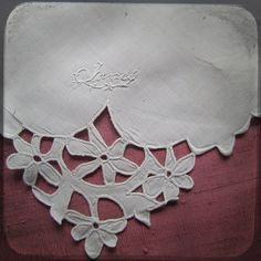 Antique Jane Square Hand embroidered by UnPetitChateau on Etsy - detail
