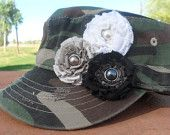 Crazy for Camo Army Print Military Style Cadet Hat With Grey, Black, and White Ribbon Flowers