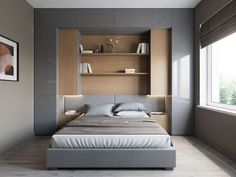 Bedroom Storage For Small Rooms - Unity Fashion Small Bedroom Storage, Small Master Bedroom, Small Bedroom Designs, Bedroom Bed Design, Small Room Design, Home Bedroom, Modern Bedroom, Bedroom Decor, Small Bedroom Wardrobe