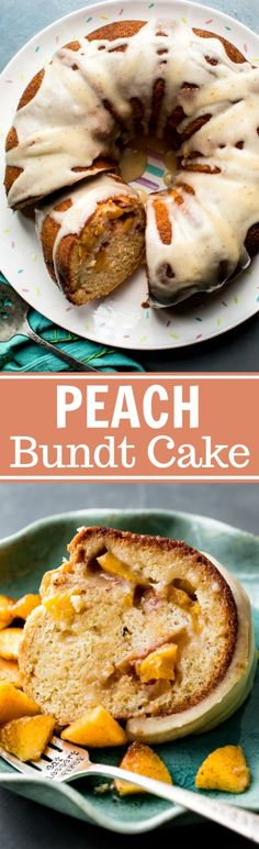 Easy summer dessert recipe! Super moist peach bundt cake with cinnamon soaked peaches and delicious brown butter icing on top! Recipe on sallysbakingaddiction.com