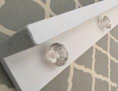 White Shelf-Key Holder-Wood Shelf with Crystal by TheCharmingBarn