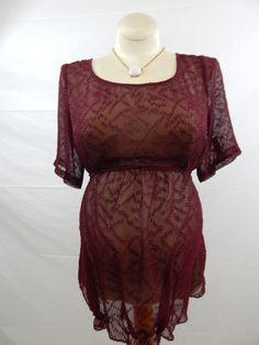 Maroon Short Sleeve Textured Blouse-912