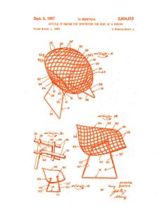 Patent application rendering - Harry Bertoia wire chair