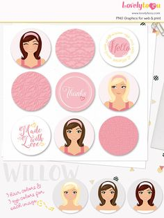 Woman character circle labels printable diy sticker set with