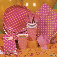 Hot pink and orange polkadot plates, napkins, cups, and silverware