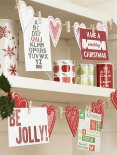 Nordic Heart Christmas Card Holder Garland - Cards  Card Holders - £8.99 - The Contemporary Home Online Shop