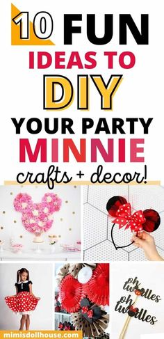 Adorable Minnie Mouse Party Supplies. Sometimes you just need some amazing Minnie party crafts to make your birthday complete! Here are some adorable Minnie Mouse party supplies and decoration ideas to set you party apart from the rest!! Looking for more Minnie Mouse parties? These ideas are perfect for a first birthday. #minnie #minniemouse #disney #birthday #kids #party #partyideas #parties #holiday #girl Birthday Kids, Disney Birthday, Birthday Parties, Minnie Mouse Clubhouse, Minnie Mouse Cake, Mouse Parties, Party Crafts, Crafts To Make, First Birthdays
