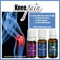 Young Living Essential Oils: Knee Pain Get your oils now by signing up at: https://www.youngliving.com/signup/?site=USsponsorid=1814757enrollerid=1814757