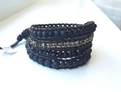 Black and coffee leather beaded wrap bracelet.  Four wrap bracelet