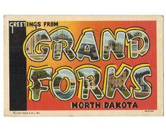 Greetings from Grand Forks North Dakota vintage linen postcard by Postcardigans