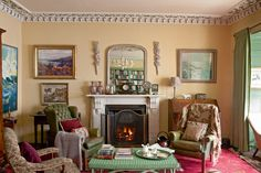 Graham Fanning's Grade II* Listed Georigian house in west Wales is filled with colour and antiques, creating unique interiors