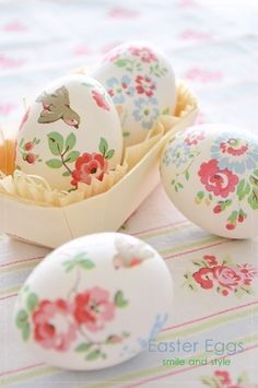 Decorate Easter eggs with cut out paper napkins and mod podge them on, so adorable!