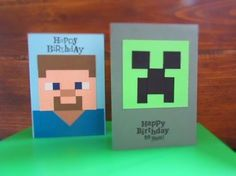 2016 interesting minecraft origami new year cards from LoveFX . Minecraft Cards, Minecraft Birthday Card, Bday Cards, Birthday Cards For Men, Homemade Birthday Cards, Homemade Cards, Stampin Up, Make Your Own Card, Kids Cards