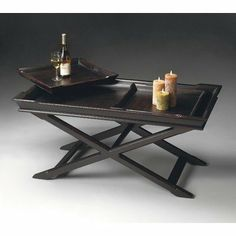 Butler 2503136 Artist's Originals Coffee Table with Serving Trays in Plum Black by Butler. $619.00