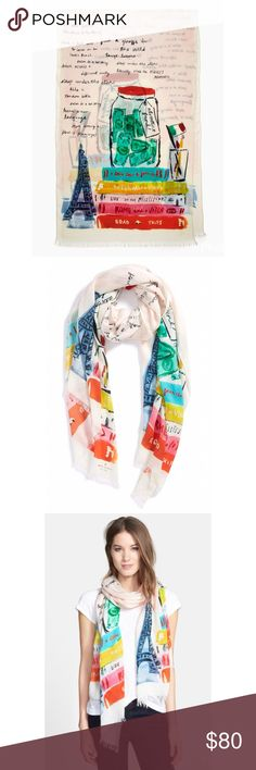 """SALE 🎉 NEW Kate Spade Bucket List L/weight Scarf Add this lightweight, beautifully designed watercolor scarf to your wish list and remind yourself of what inspires you ✈️🌈🏕 Beautiful vibrant color, perfect to add to any wardrobe. New and comes with the retail tag, but the retail tag is not attached; took it off after purchased. 100% lightweight and luxurious modal. 80"""" x 25"""". From smoke free and pet free home. kate spade Accessories Scarves & Wraps"""