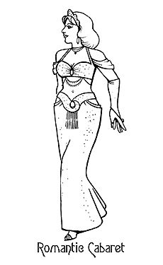 Drawing of a 1940's Style of Belly Dance Costume