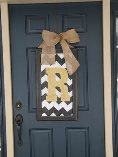 Spring door decor large chevron wood by BlessHerHeartDesigns