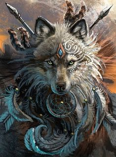 diamond painting Wolf Dreamcatcher By Sunniva Myster Fantasy Wolf, Fantasy Art, Wolf Dreamcatcher, Indian Wolf, Native American Wolf, Wolf Warriors, Tribal Wolf, Wolf Artwork, Wolf Spirit Animal