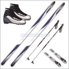 family outings xc set1 - alpina solution waxless skis, alpina ski poles & rottefella auto ski bindings