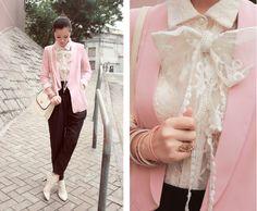 Pink Blazer #2dayslook #jamesfaith712 #sasssjane #PinkBlazer #ramirez701 www.2dayslook.com Lace Ankle Boots, Pink Suit, Types Of Jackets, Lace Scarf, Lace Bows, Blazer Outfits, Pink Jacket, Style Inspiration, My Style