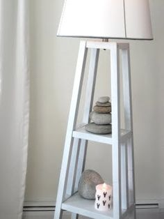 Floor Lamp With Natural Rock Accents