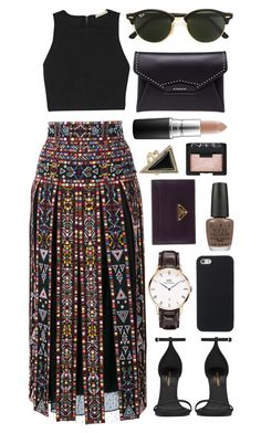 """""""Untitled #549"""" by clary94 ❤ liked on Polyvore featuring Valentino, Yves Saint Laurent, Alice + Olivia, Ray-Ban, Givenchy, OPI, MAC Cosmetics, Daniel Wellington, Prada and NARS Cosmetics"""
