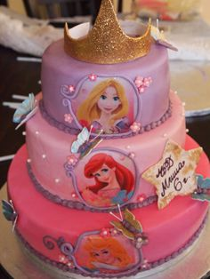 Disney Princess Cake — Childrens Birthday Cakes- maybe with Cinderella on bottom instead of Aurora Princess Theme Cake, Disney Princess Birthday, Princess Cakes, Princess Tiana, Paper Cupcake, Cupcake Cakes, Birthday Cake Girls, 4th Birthday, Birthday Cakes