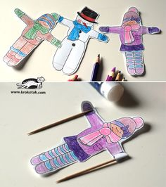 Ice cream skiers | krokotak Photo Projects, Projects For Kids, Art Projects, Fun Crafts, Diy And Crafts, Arts And Crafts, Christmas Room, Christmas Crafts, Winter Project