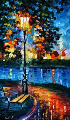 Charm Of Loneliness by Leonid Afremov Handmade oil painting reproduction on canvas for sale,We can offer Framed art,Wall Art,Gallery Wrap and Stretched Canvas,Choose from multiple sizes and frames at discount price. Oil Painting On Canvas, Canvas Art, River Painting, Rain Painting, Blue Canvas, Palette Knife, Beautiful Paintings, Impressionism, Landscape Paintings