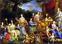 A posthumous painting commissioned around 1670 by Philippe de France.It shows the French Bourbon Family around that time. It includes: Henrietta Maria of France (died 1669), exiled Queen of England; Philippe I, Duke of Orléans, founder of the House of Orléans; his first wife Princess Henriette (died 1670); the couples first daughter Marie Louise d'Orléans (later Queen of Spain);Anne of Austria (died 1666); the Orléans daughters of Gaston de France; Louis XIV; the Dauphin of France with his…