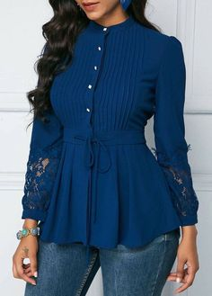 New Fashion Vintage Elegant Women Shirts Blouses Spring Autumn Long Sleeve Lace Panel Crinkle Chest Peplum Blouse Blouse Styles, Blouse Designs, Hijab Fashion, Fashion Dresses, Sleeves Designs For Dresses, Peplum Blouse, Peplum Tops, Mode Inspiration, Chic Outfits