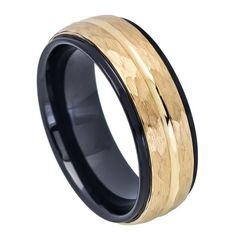 MSRP: $299.99  Our Price: $99.99  Savings: $200.00      Item Number: TR715  Availability: Usually Ships in 5 Business Days      PRODUCT DESCRIPTION:    Crafted in durable Tungsten Carbide, this handsome wedding band for him offers a two tone black and yellow gold finish with a Grooved Center, Step-Down Edge design and a Hammered Finish.      FEATURES:    Crafted in Durable Tungsten Carbide  Scratch Resistent  Black Finish  Yellow Gold Finish  Hammered Finish  Grooved Center  Step-Down Edge…