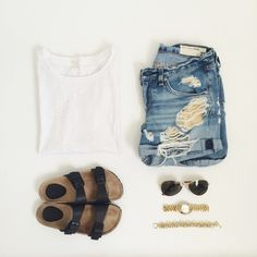 plain white tee + shorts + birks + watch