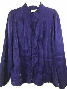 Chico's 2 Purple Shimmer Jacket M L Ruffle Trim Hook Closure Shiny Rayon Blend…
