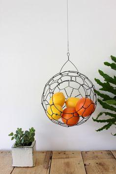 Wire Hanging Fruit or Vegetable Sphere Basket Medium Size by CharestStudios on Etsy https://www.etsy.com/listing/104991506/wire-hanging-fruit-or-vegetable-sphere